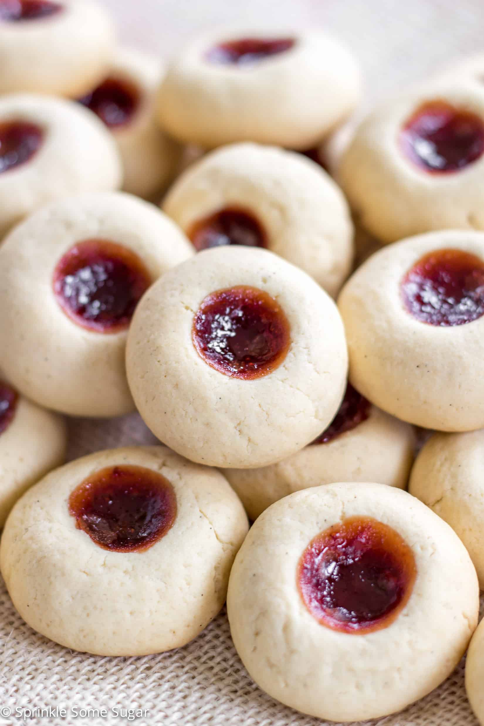 Super soft and delicious vanilla thumbprint cookies filled with jam.
