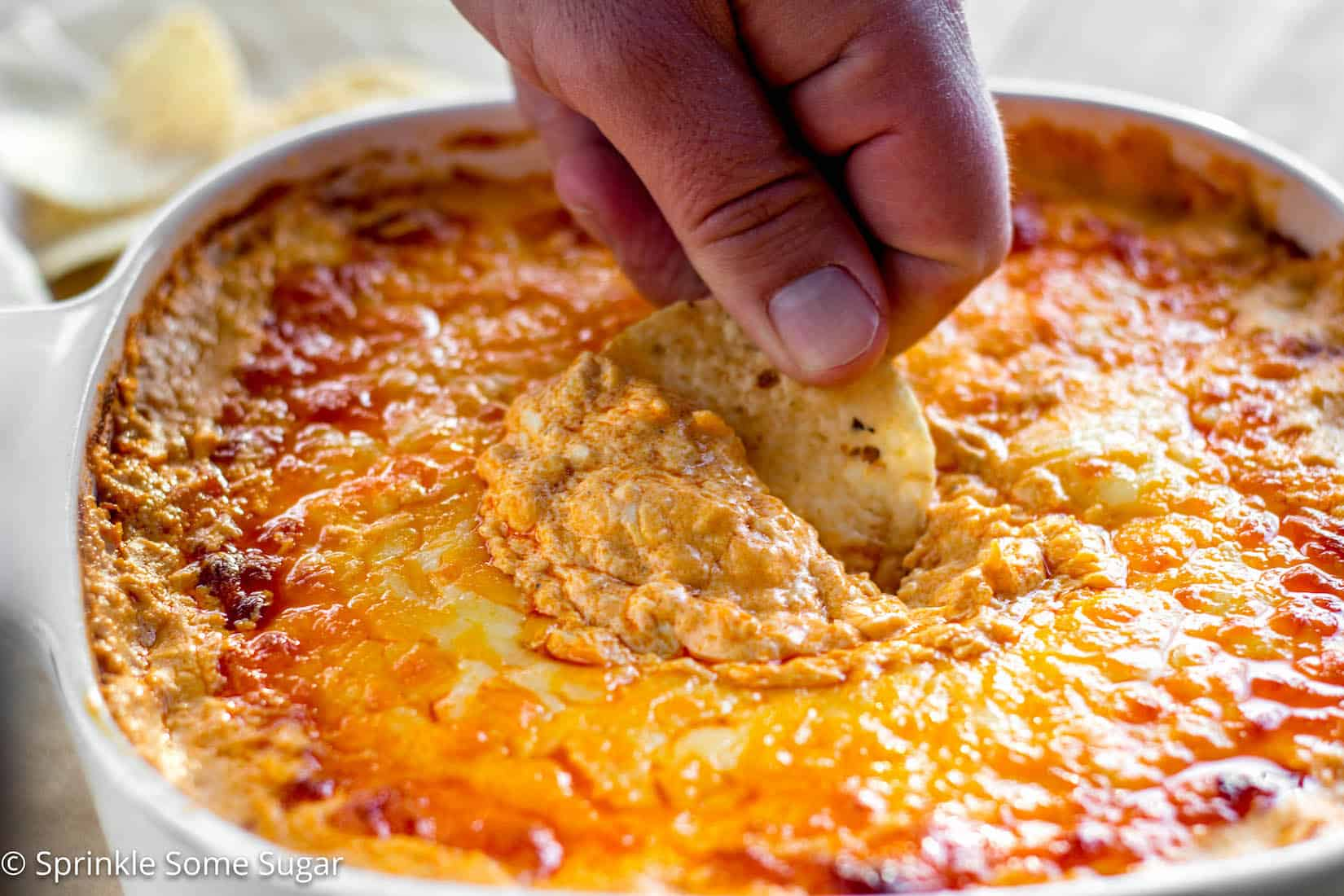 This buffalo chicken dip is super creamy, extra cheesy and has the perfect amount of heat! - Buffalo Chicken Dip