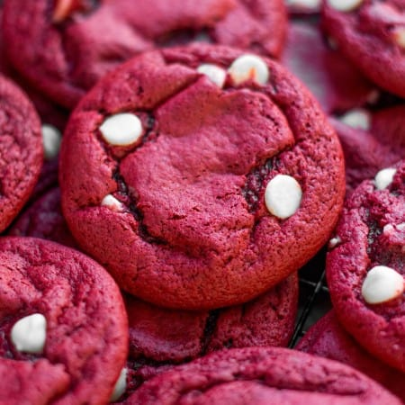 The softest, chewiest, easiest cookies that start with a cake mix! - Red Velvet Cake Mix Cookies