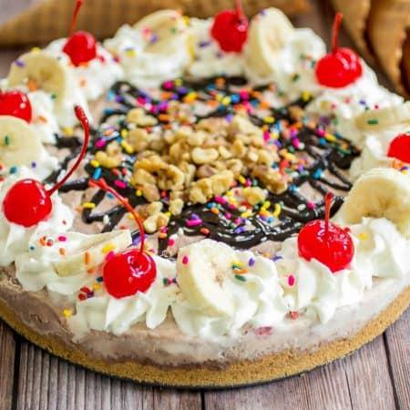No-Bake Banana Split Ice Cream Pie - An easy and crazy delicious banana split alternative that everyone can share!