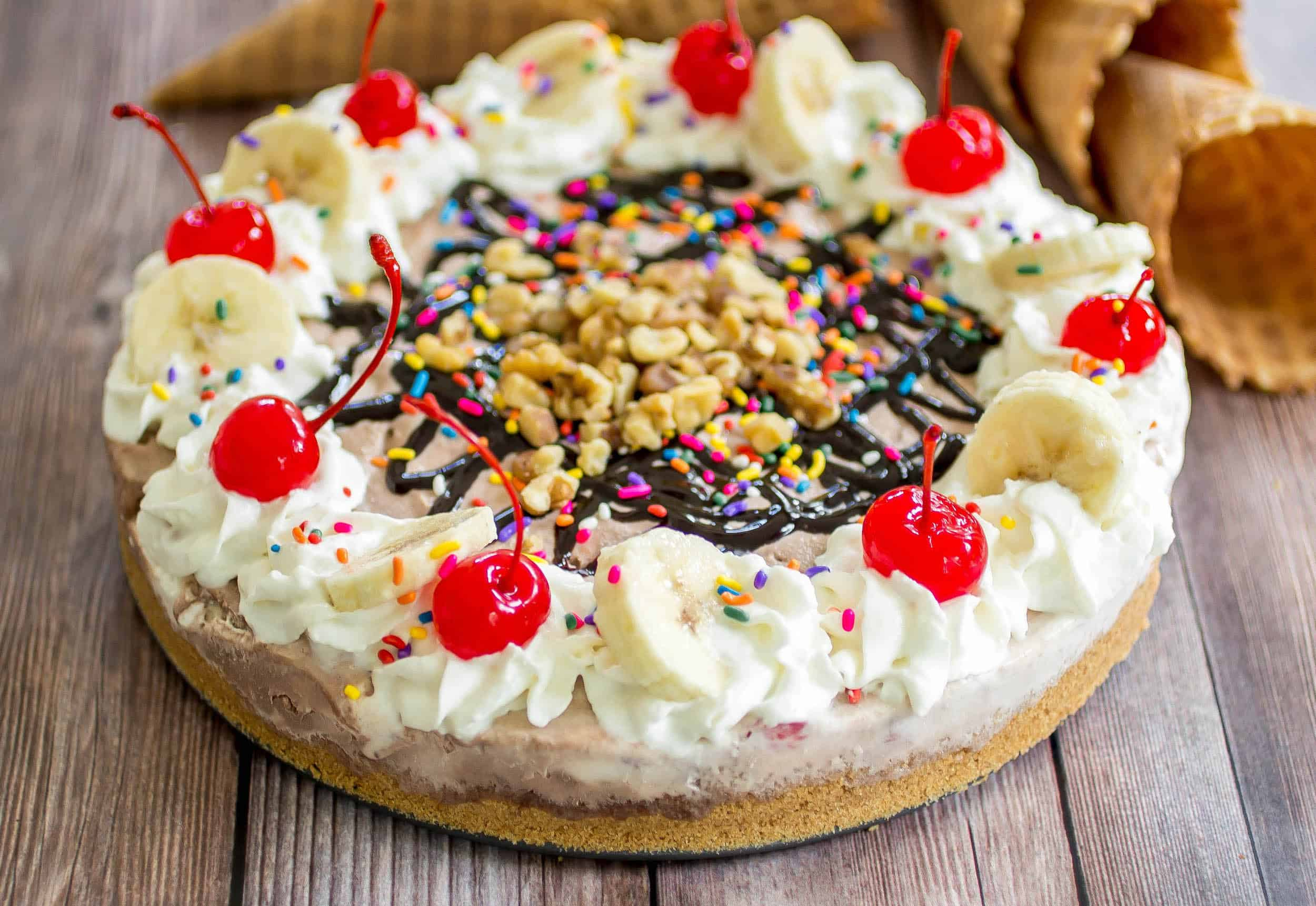 No-Bake Banana Split Ice Cream Pie - An easy and crazy delicious banana split alternative that everyone can share!