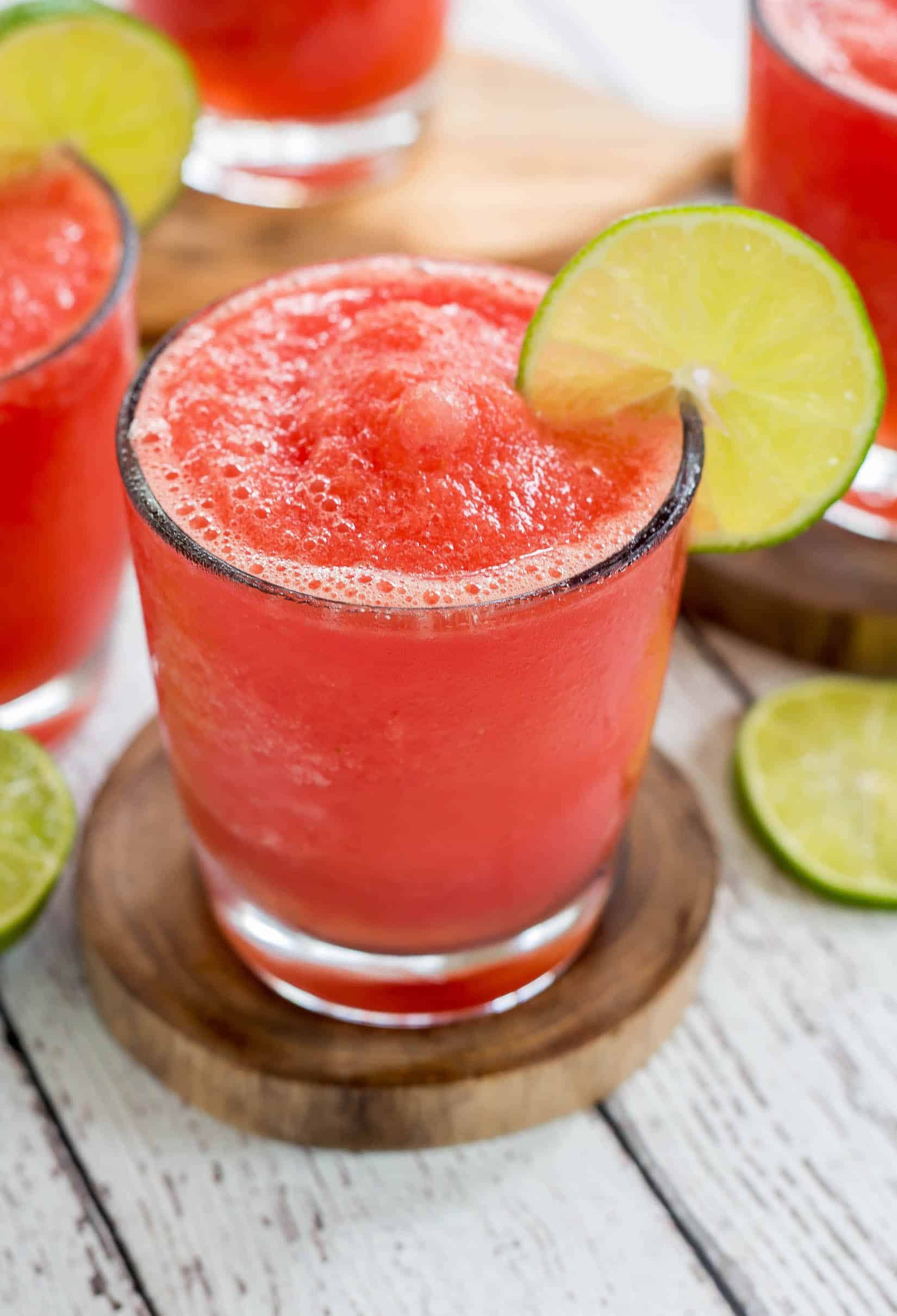 Watermelon Lime Slushies - Super easy, fresh and delicious watermelon lime slashes made at home!
