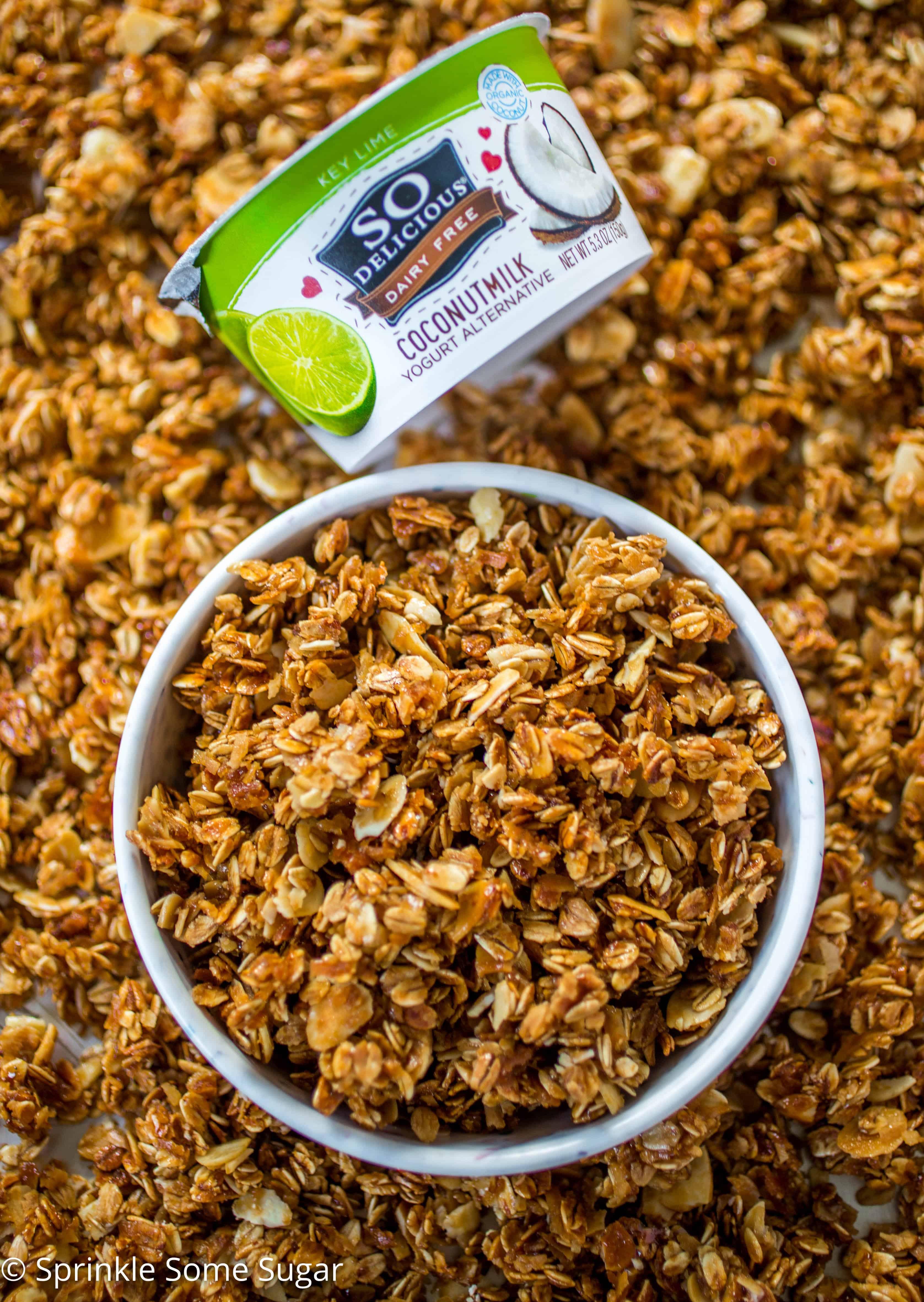 Vanilla Coconut Almond Granola - Flavors of vanilla, coconut and almond fill this healthier spin on granola!