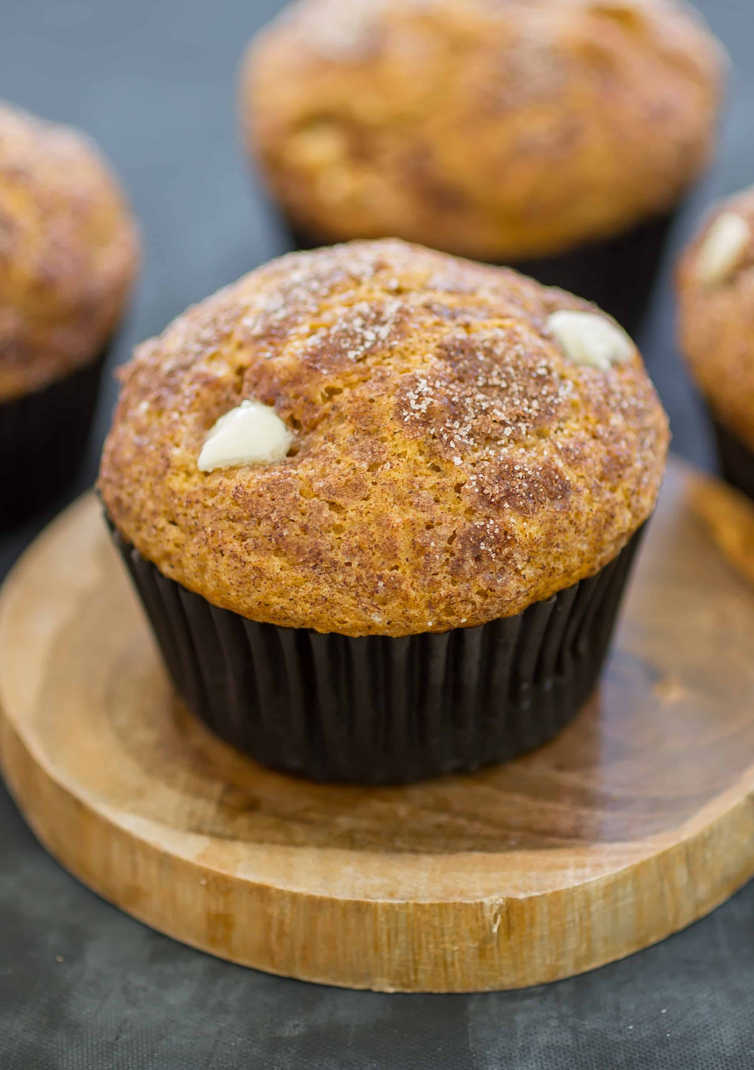 These White Chocolate Chip Pumpkin Muffins are the perfect tasty treat for the cooler weather!
