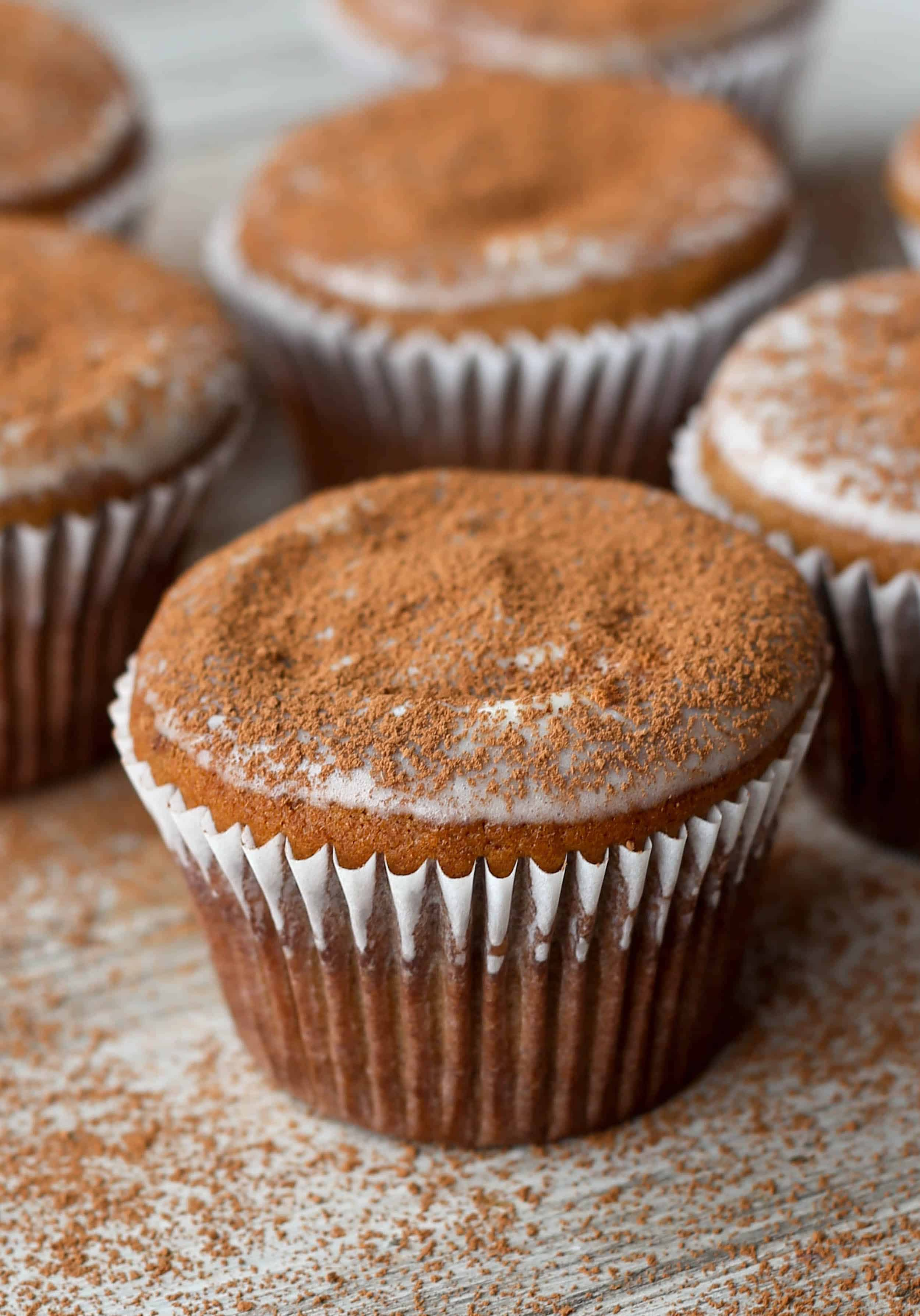 Tiramisu Muffins that are filled with the traditional tiramisu flavors of espresso, cocoa, and mascarpone!