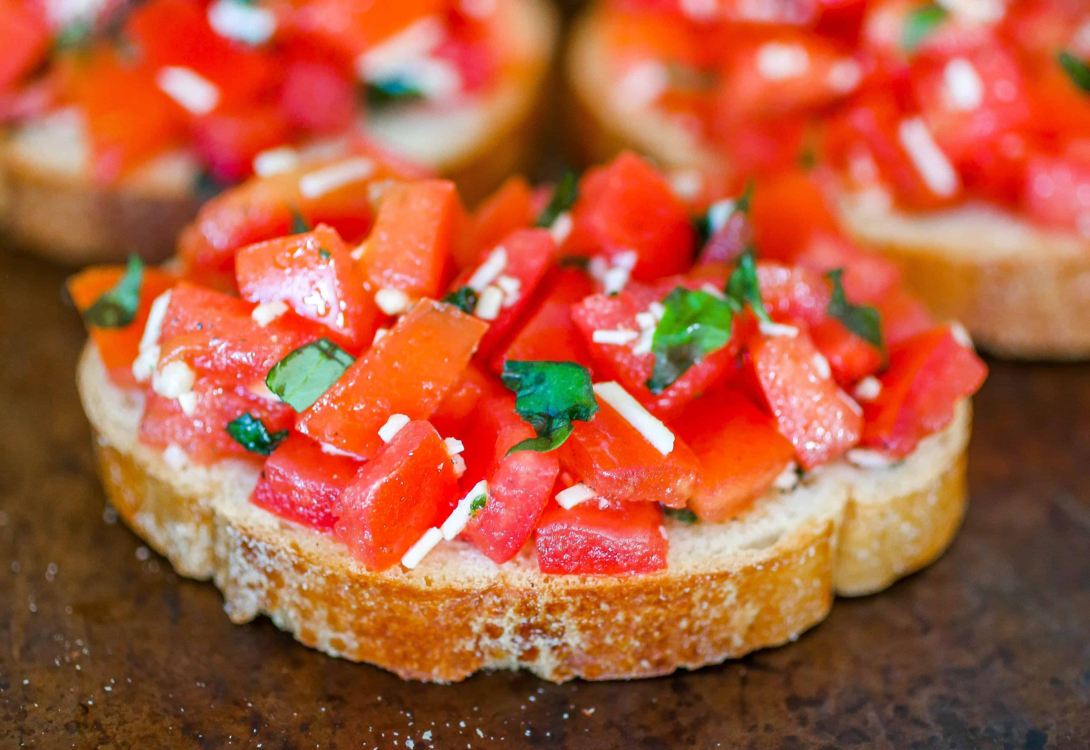 Homemade Bruschetta - A delicious, homemade bruschetta recipe that is perfect for parties, get-togethers or just a yummy snack!